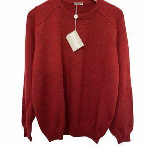 Gran Sasso Italy Wool Paricollo Red Knit Polo Swea